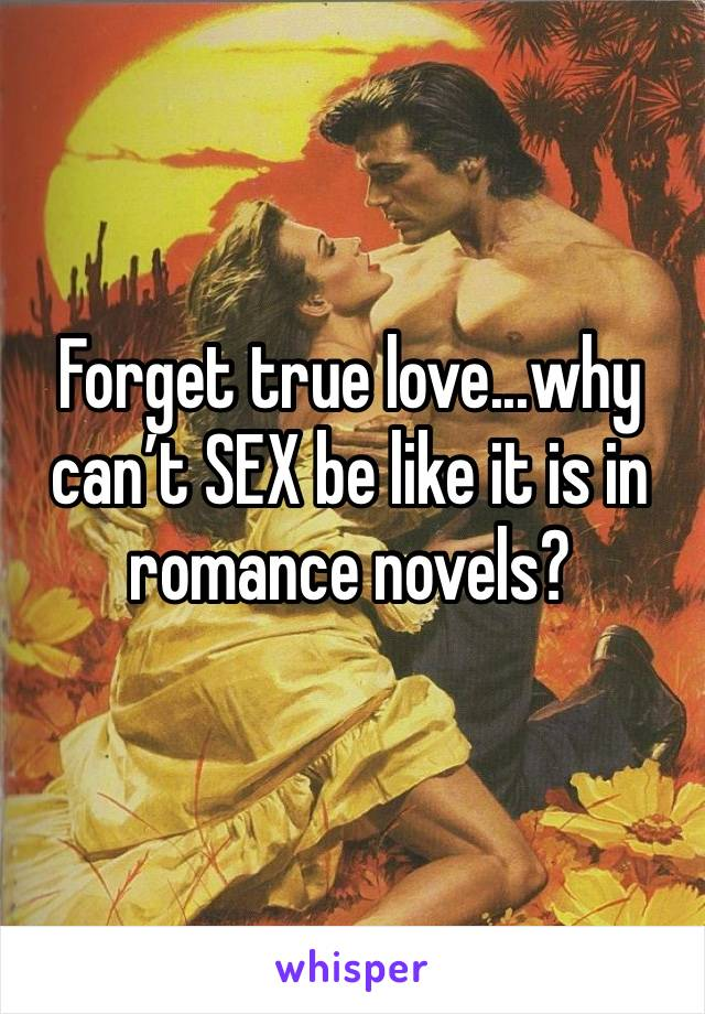 Forget true love...why can't SEX be like it is in romance novels?