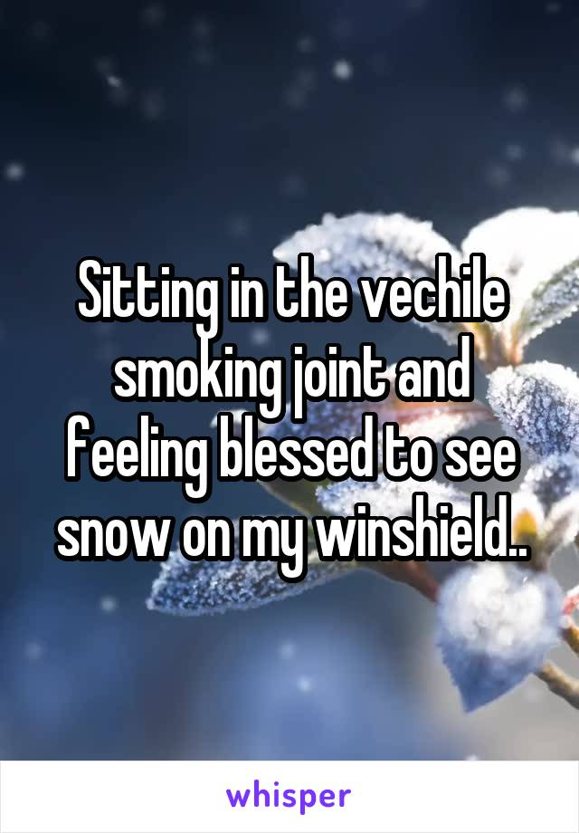 Sitting in the vechile smoking joint and feeling blessed to see snow on my winshield..