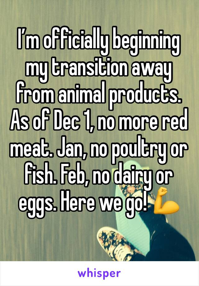 I'm officially beginning my transition away from animal products. As of Dec 1, no more red meat. Jan, no poultry or fish. Feb, no dairy or eggs. Here we go! 💪