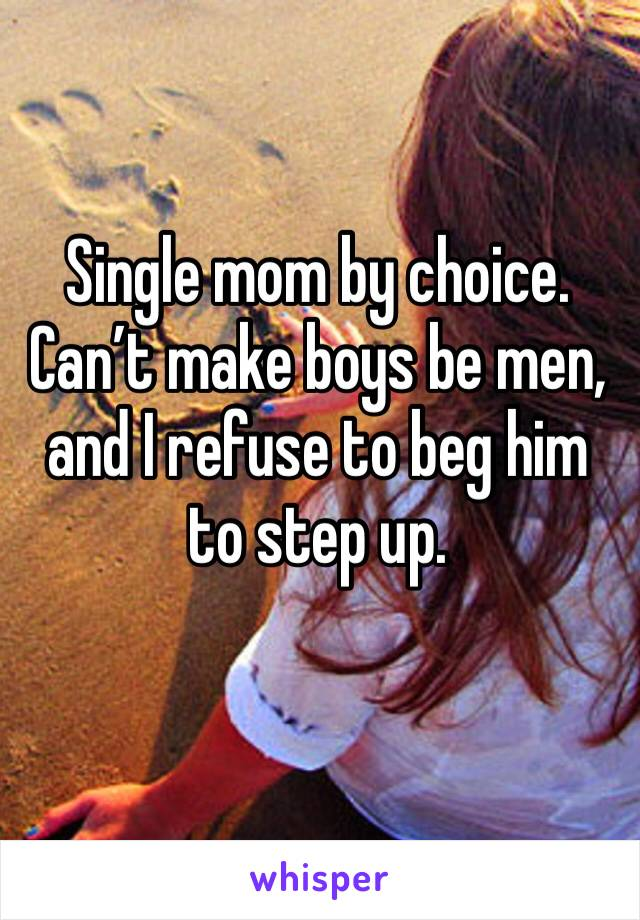 Single mom by choice. Can't make boys be men, and I refuse to beg him to step up.