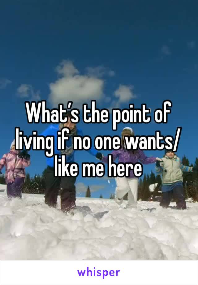 What's the point of living if no one wants/like me here