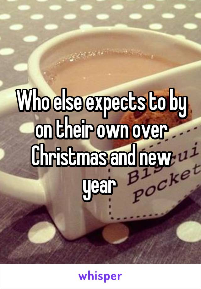 Who else expects to by on their own over Christmas and new year