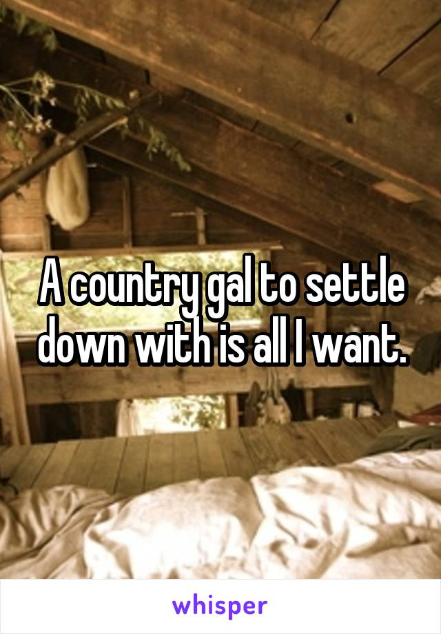 A country gal to settle down with is all I want.