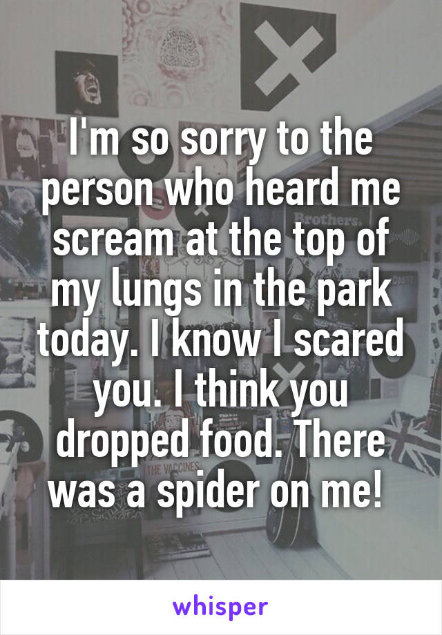 I'm so sorry to the person who heard me scream at the top of my lungs in the park today. I know I scared you. I think you dropped food. There was a spider on me!