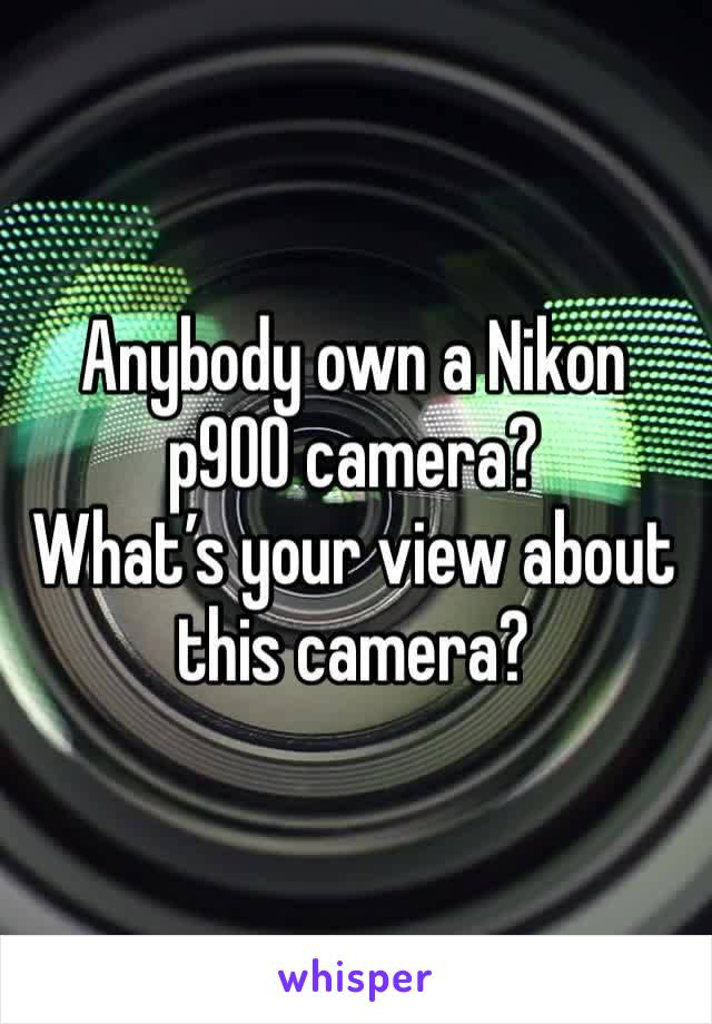 Anybody own a Nikon p900 camera? What's your view about this camera?