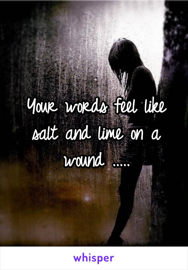 Your words feel like salt and lime on a wound .....