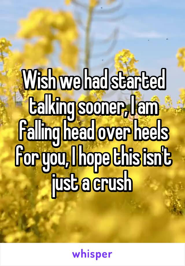 Wish we had started talking sooner, I am falling head over heels for you, I hope this isn't just a crush