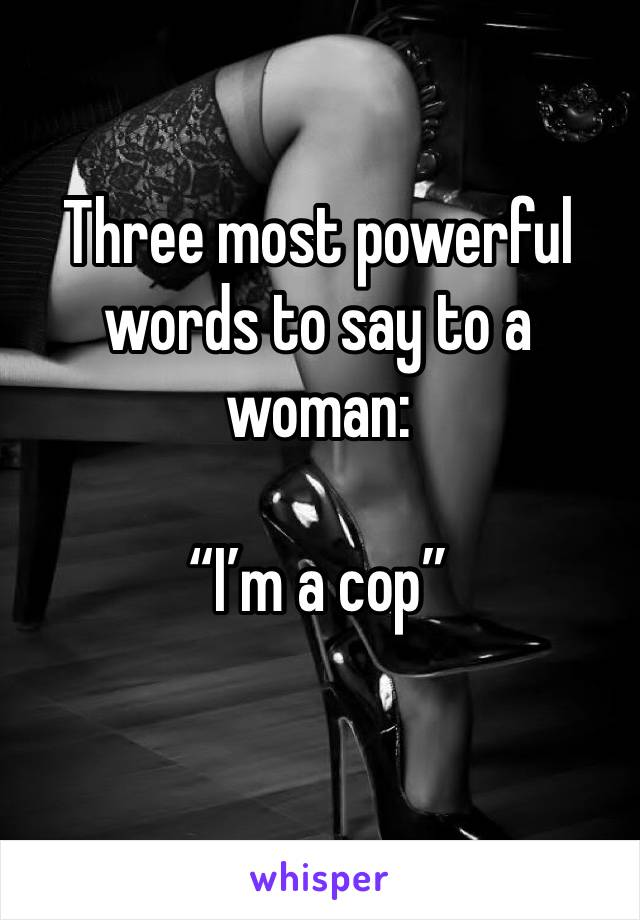 "Three most powerful words to say to a woman:   ""I'm a cop"""