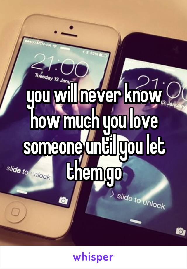 you will never know how much you love someone until you let them go