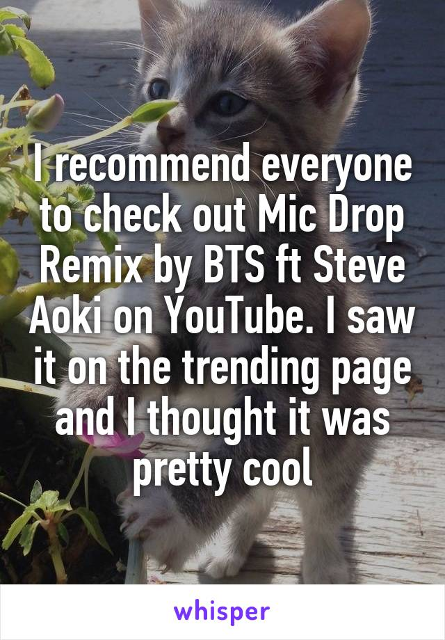 I recommend everyone to check out Mic Drop Remix by BTS ft Steve Aoki on YouTube. I saw it on the trending page and I thought it was pretty cool