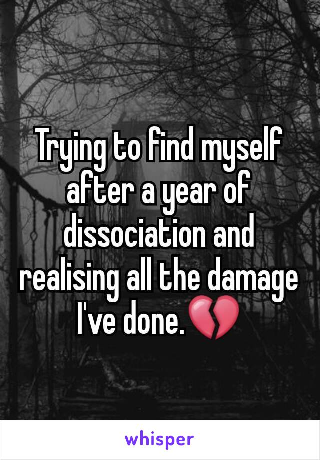 Trying to find myself after a year of dissociation and realising all the damage I've done.💔