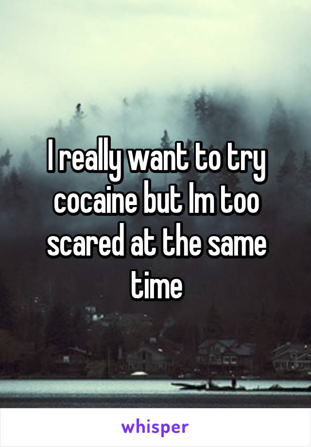 I really want to try cocaine but Im too scared at the same time