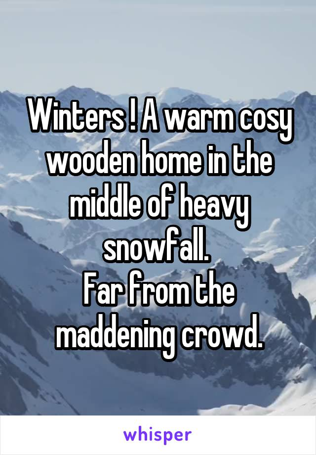 Winters ! A warm cosy wooden home in the middle of heavy snowfall.  Far from the maddening crowd.