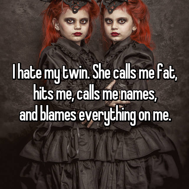 I hate my twin. She calls me fat, hits me, calls me names, and blames everything on me.