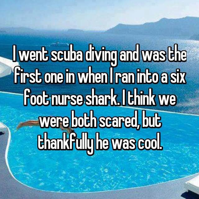 I went scuba diving and was the first one in when I ran into a six foot nurse shark. I think we were both scared, but thankfully he was cool.