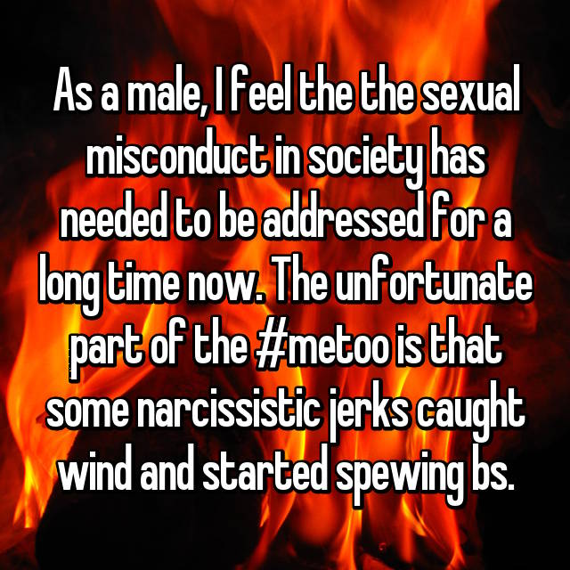 As a male, I feel the the sexual misconduct in society has needed to be addressed for a long time now. The unfortunate part of the #metoo is that some narcissistic jerks caught wind and started spewing bs.