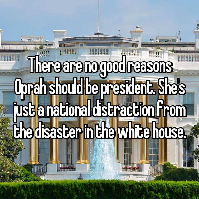 There are no good reasons Oprah should be president. She's just a national distraction from the disaster in the white house.