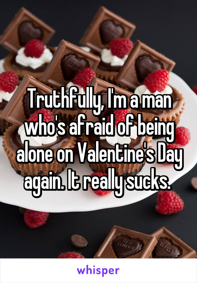 Truthfully, I'm a man who's afraid of being alone on Valentine's Day again. It really sucks.