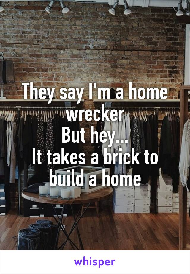 They say I'm a home wrecker But hey... It takes a brick to build a home