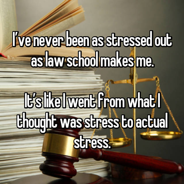 I've never been as stressed out as law school makes me.  It's like I went from what I thought was stress to actual stress.