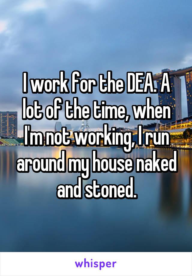 I work for the DEA. A lot of the time, when I'm not working, I run around my house naked and stoned.