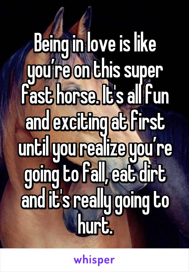 Being in love is like you're on this super fast horse. It's all fun and exciting at first until you realize you're going to fall, eat dirt and it's really going to hurt.