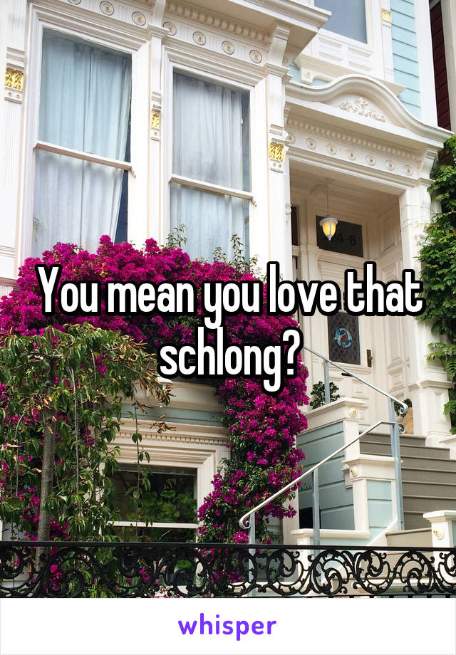You mean you love that schlong?