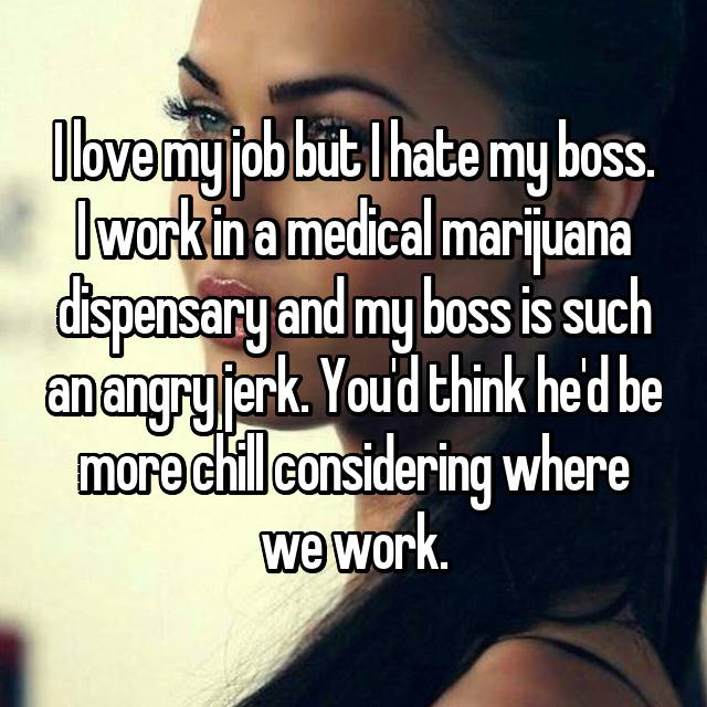 I love my job but I hate my boss. I work in a medical marijuana dispensary and my boss is such an angry jerk. You'd think he'd be more chill considering where we work.