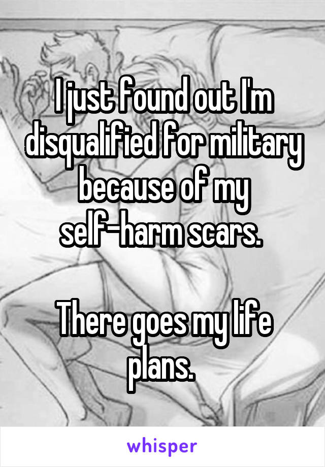 I just found out I'm disqualified for military because of my self-harm scars.   There goes my life plans.