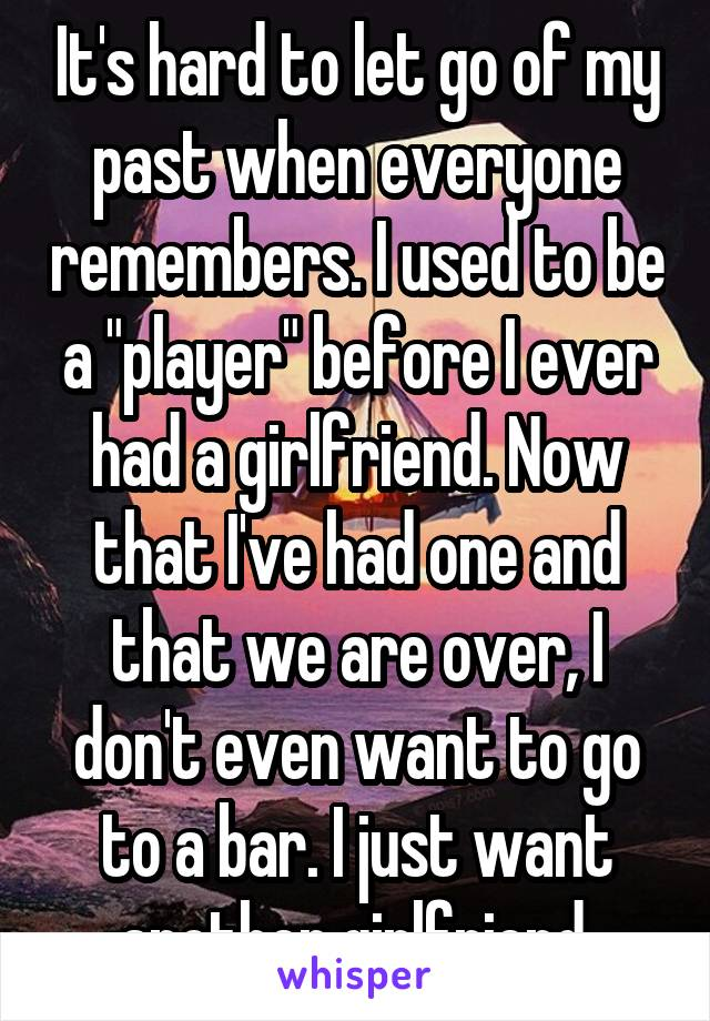 """It's hard to let go of my past when everyone remembers. I used to be a """"player"""" before I ever had a girlfriend. Now that I've had one and that we are over, I don't even want to go to a bar. I just want another girlfriend."""