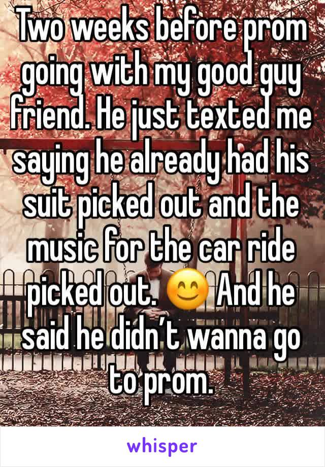 Two weeks before prom going with my good guy friend. He just texted me saying he already had his suit picked out and the music for the car ride picked out. 😊 And he said he didn't wanna go to prom.