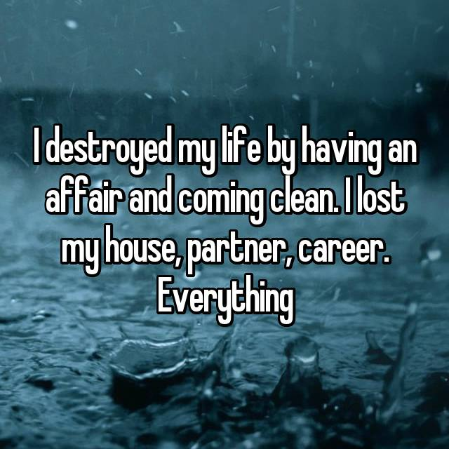 I destroyed my life by having an affair and coming clean. I lost my house, partner, career. Everything