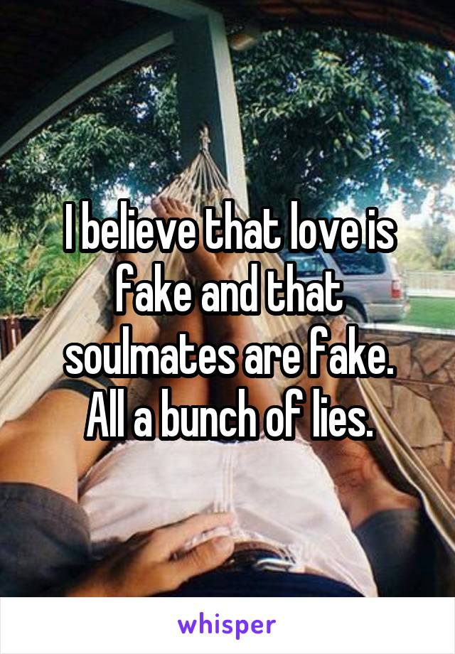 I believe that love is fake and that soulmates are fake. All a bunch of lies.