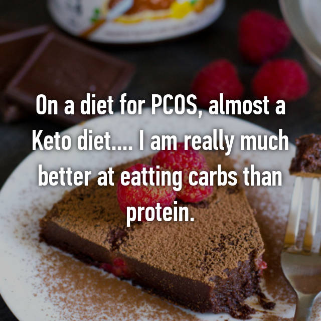 On a diet for PCOS, almost a Keto diet.... I am really much better at eatting carbs than protein.