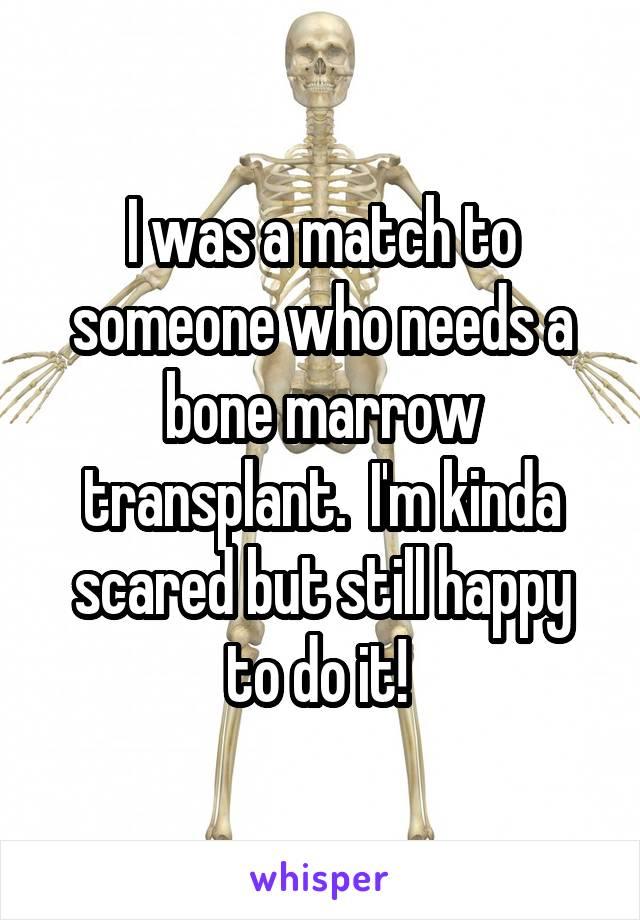 I was a match to someone who needs a bone marrow transplant.  I'm kinda scared but still happy to do it!