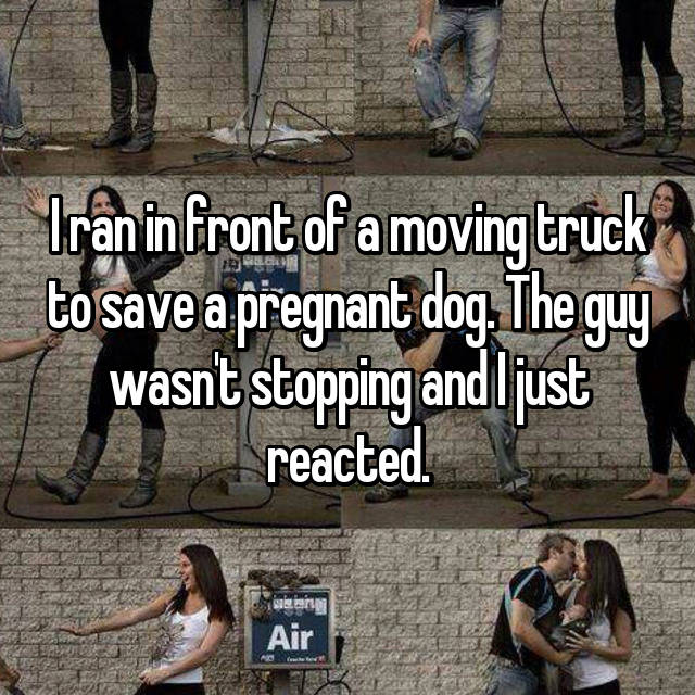 I ran in front of a moving truck to save a pregnant dog. The guy wasn't stopping and I just reacted.