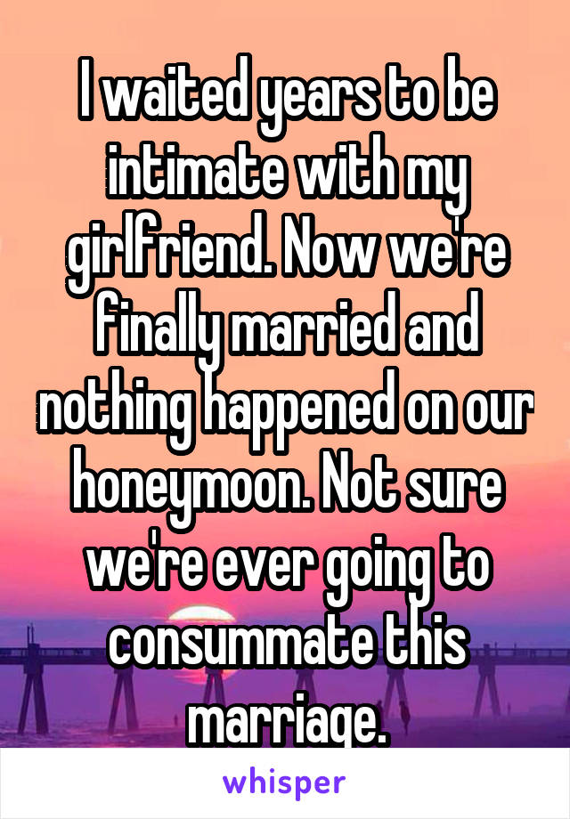 I waited years to be intimate with my girlfriend. Now we're finally married and nothing happened on our honeymoon. Not sure we're ever going to consummate this marriage.