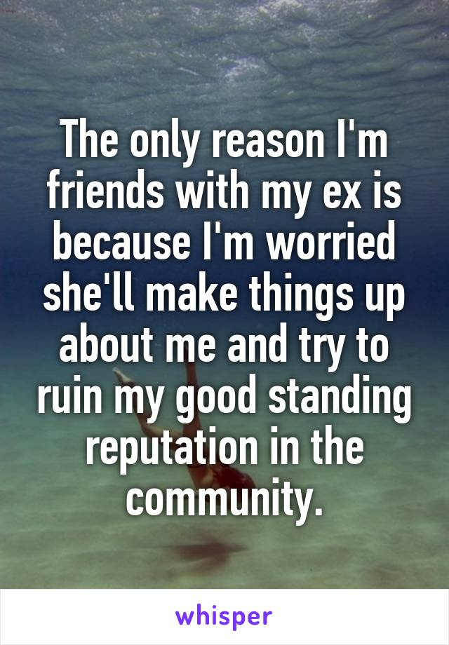 The only reason I'm friends with my ex is because I'm worried she'll make things up about me and try to ruin my good standing reputation in the community.