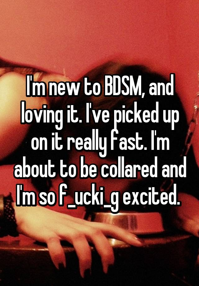 I'm new to BDSM, and loving it. I've picked up on it really fast. I'm about to be collared and I'm so f_ucki_g excited.