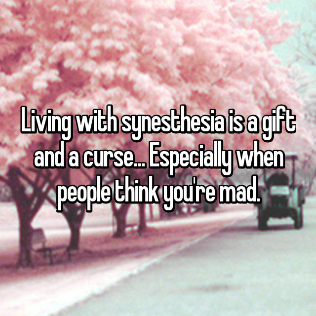 Living with synesthesia is a gift and a curse... Especially when people think you're mad.