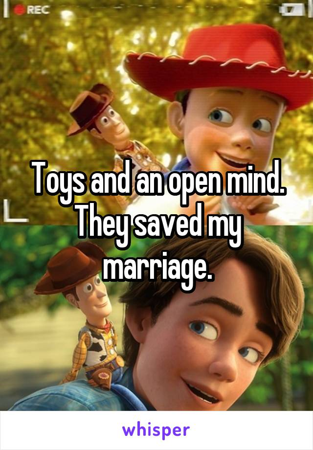 Toys and an open mind. They saved my marriage.
