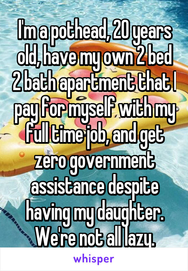 I'm a pothead, 20 years old, have my own 2 bed 2 bath apartment that I pay for myself with my full time job, and get zero government assistance despite having my daughter. We're not all lazy.