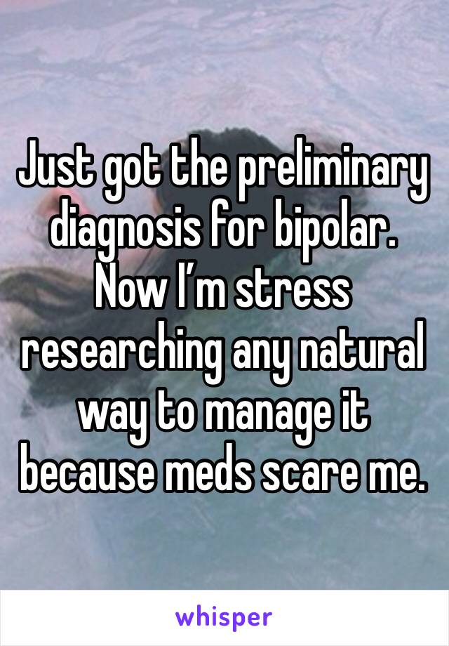 Just got the preliminary diagnosis for bipolar. Now I'm stress researching any natural way to manage it because meds scare me.