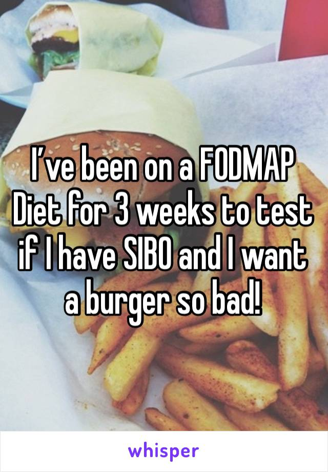 I've been on a FODMAP Diet for 3 weeks to test if I have SIBO and I want a burger so bad!