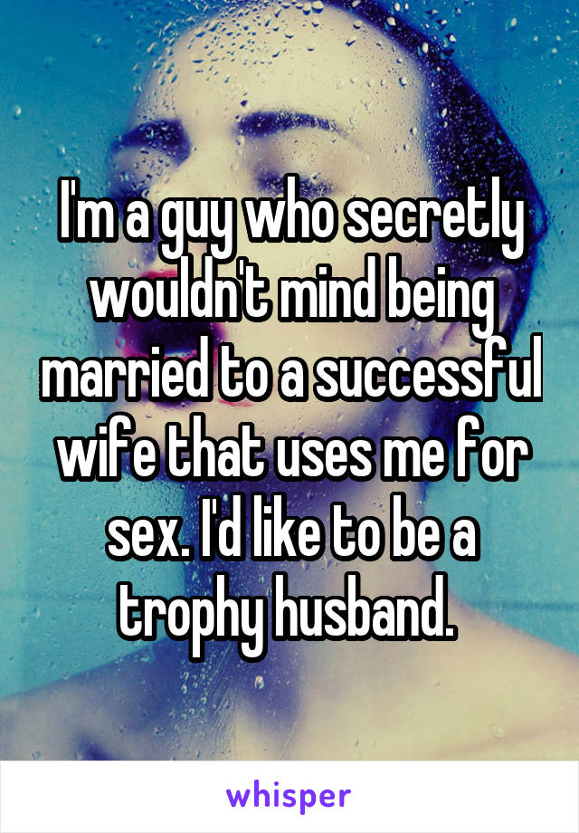I'm a guy who secretly wouldn't mind being married to a successful wife that uses me for sex. I'd like to be a trophy husband.