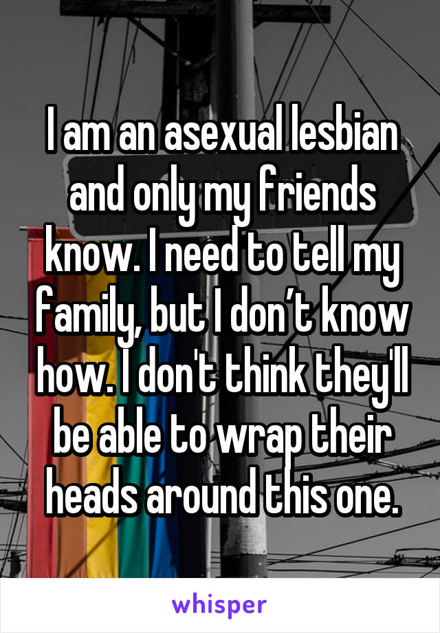 I am an asexual lesbian and only my friends know. I need to tell my family, but I don't know how. I don't think they'll be able to wrap their heads around this one.