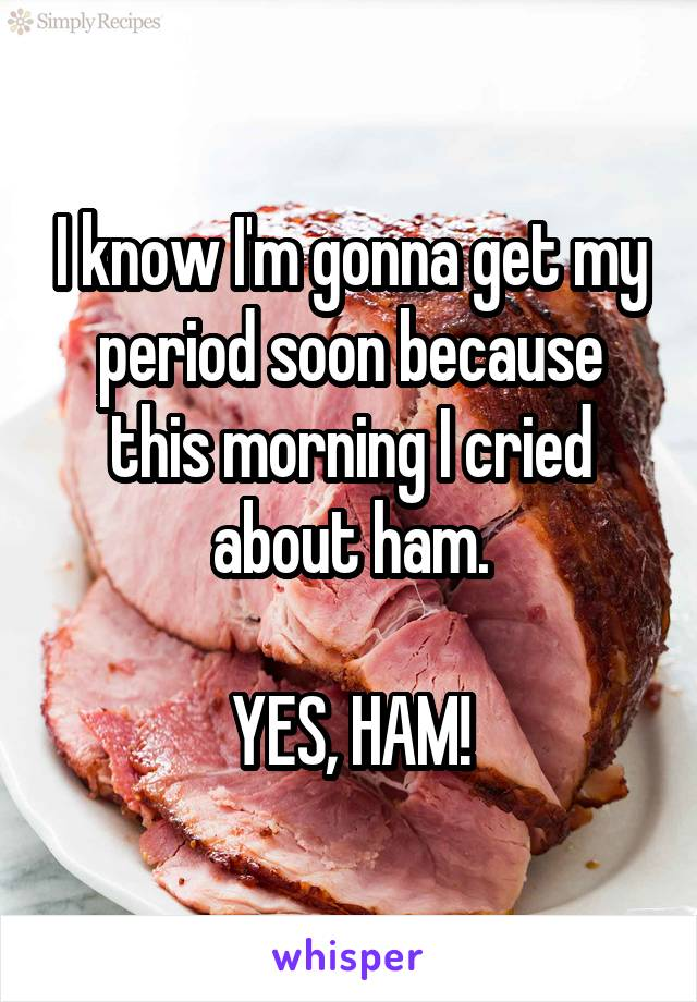 I know I'm gonna get my period soon because this morning I cried about ham.  YES, HAM!