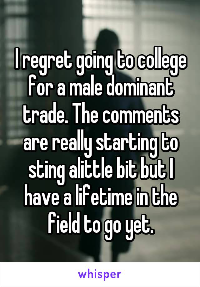 I regret going to college for a male dominant trade. The comments are really starting to sting alittle bit but I have a lifetime in the field to go yet.