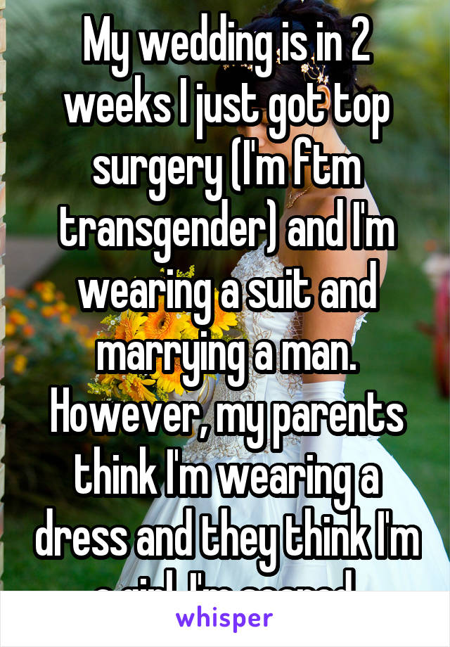 My wedding is in 2 weeks I just got top surgery (I'm ftm transgender) and I'm wearing a suit and marrying a man. However, my parents think I'm wearing a dress and they think I'm a girl. I'm scared.