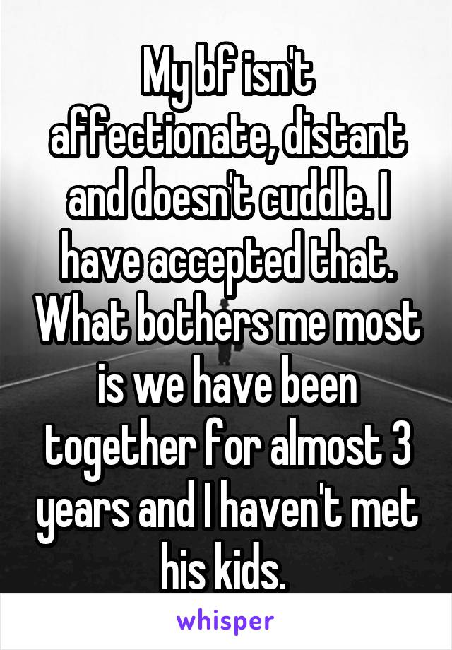 My bf isn't affectionate, distant and doesn't cuddle. I have accepted that. What bothers me most is we have been together for almost 3 years and I haven't met his kids.